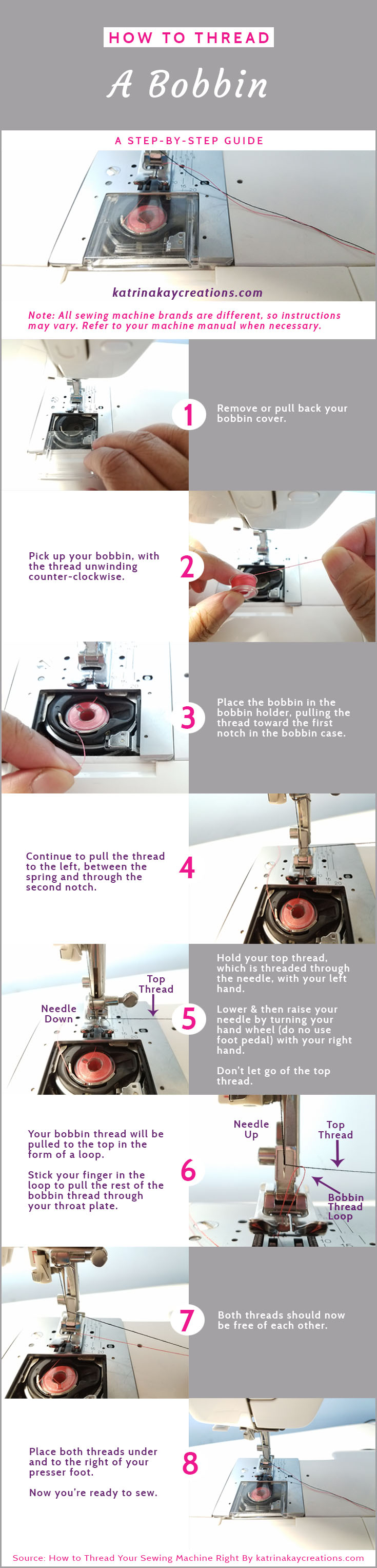 How To Thread Your Sewing Machine | How To Wind A Bobbin | How To Thread A Bobbin | If you're having a problem winding your bobbin or threading your sewing machine & bobbin, this blog post will give you helpful tips about the guides on your machine and how to use them. And if you don't have a user manual for your sewing machine, I give resources where you might be able to find one.